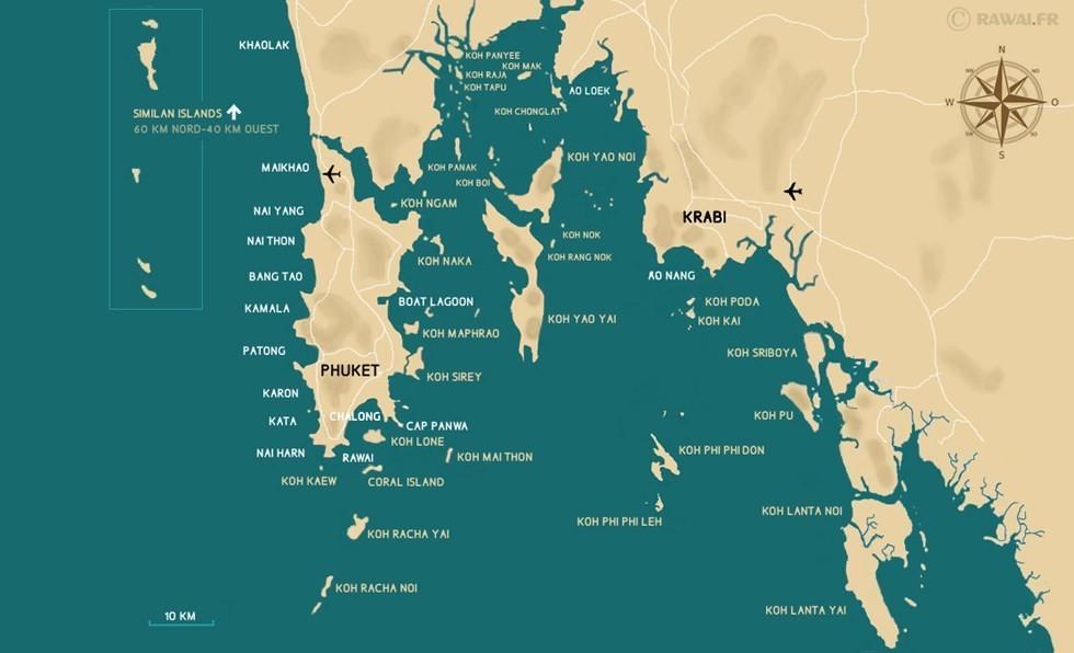 Baie De Phang Nga Thailande Carte.Phuket Plans Carte De La Baie De Phang Nga